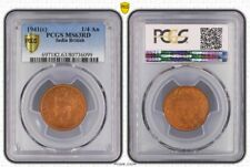 1941(c) INDIA BRITISH 1/4 ANNA PCGS MS63RD OLD COIN IN HIGH GRADE WITH LUSTER