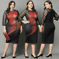 Women's Plus Size Bodycon Mesh Sheer Long Sleeve Print Dress Party Evening Gown