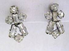 "Vintage 1970's  Screw Back Rhinestone Drop Earrings 3/4"" Long Silver Tone"