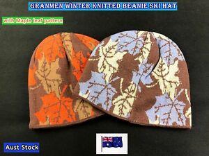 Granmen Unisex Winter Knit Baggy Beanie Hat with Maple Leaf Pattern (B18)