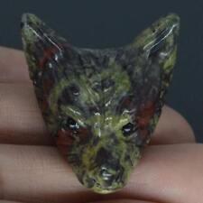 "1.4"" Dragon Bloodstone Wolf Head Pendant Necklace Fashion Jewelry Stone Caving"