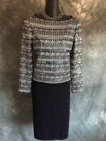 STUNNING St john evening black silver shimmer studs paillettes knit top size 2