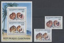 COQUILLAGE Gabon 2 val 1 bloc de 1987 ** SHELL MUSCHEL CONCHIGLIA