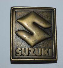 Vintage 1976 SUZUKI Motorcycles Square Heavy High End Brass Tone Belt Buckle