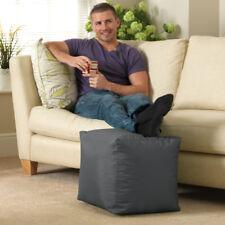Cube Bean Bag Indoor-Outdoor Footstool Pouff - SLATE GREY