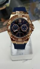 BRAND NEW Guess Women's Blue Silicone Strap Rose Gold Tone Steel Watch W1053L1