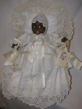"All Original 12"" Black Gerber Baby Doll Dressed In Eyelet In Basket"