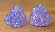 Small Sparkly Ab Lilac Purple Heart Crystal Diamante Diamond Stud Earrings