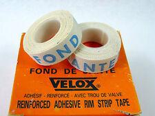 Velox Rim tape *Pair of white Cloth 2 rolls Fonde de Jante lettering true NOS