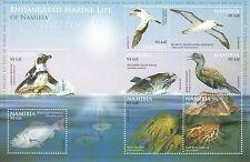 Namibia 2011 MNH Endangered Marine Life 8v Sheet Birds Fish Penguin Whale Kelp