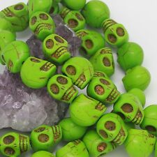 "13x18mm Carved Skull Howlite Turquoise Loose Spacer Beads 15.5"" Apple Green"