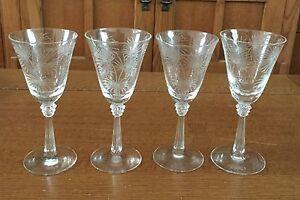 "4 Fostoria LIDO 3 oz. Wine Stem Goblets 5 1/2"" Palmetto Leaves Etch #329"