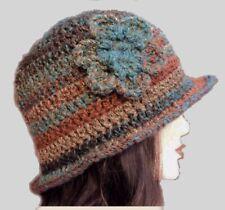 LADIES WINTER CHUNKY CLOCHE HAT brown floral warm bucket Gatsby woman's beanie 6