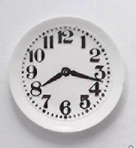 Miniature Dolls House Accessories White Decorative Wall Clock 1:12th scale size