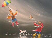 Pete Rumney Art Original Painting Windy Getting Carried Away Colorful Kids Fun