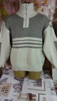 vintage  Men's ACRYLIC wool blend grey/white chunky knit jumper pullover size XL