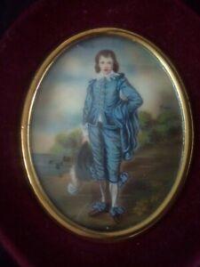 Early 20thc Italian miniature painting of the Blue Boy in maroon velvet frame.