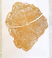"NEW Woodblock Tree Ring Print - Locust GOLD, Provo Utah - Linton Art - 36 x 48"""