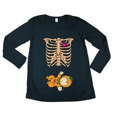 Long Sleeve Baby Skeleton Pumpkin Halloween Funny Maternity DT T-Shirt Tee