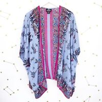 Angie Kimono Size Small Blue Pink Floral Print Oversized Boho Topper Draped