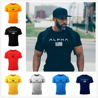 Men's Gym Muscular Fitness Bodybuilding Crew Neck T-shirt Sweatshirts Basic Tee
