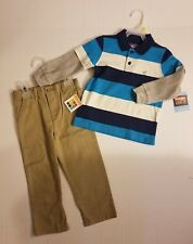 Healthtex Baby Toddler Boys 2 PACK Flat Front Chino Wrangler Stripe Shirt 3T NWT