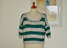 Hand knit hooped oversized sweater - UK 16, Green and white in Aran yarn