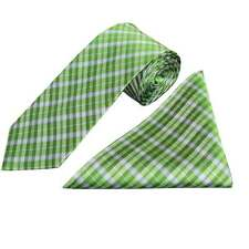 Handmade Green Tartan Silk Tie and Handkerchief Set Regular Tie and Hanky