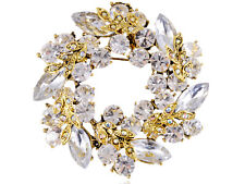 Womens Antique Gold Tone Clear Rhinestones Holiday Festive Wreath Brooch Pin