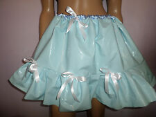 "BLUE SHINY THICK PLASTIC SKIRT FRILLY HEM SATIN WAIST + BOW TRIM 30-45"" WAIST"
