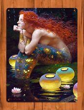 "TIN-UPS TIN Sign ""Mermaid Lanterns"" Vintage Art Poster Painting Red Head"