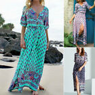 Plus Size Women Casual Summer Boho Floral Printed Long Maxi Dress Beach Sundress