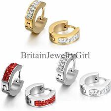 2-6PCS Stainless Steel Men Women Rhinestone Charm Hoop Huggie Ear Stud Earrings