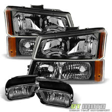 [6PC] 2003-2006 Chevy Silverado Headlights+Bumper Signal Lamp+Driving Fog Lights