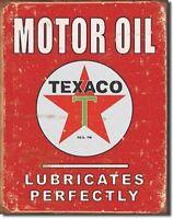 Texaco Motor Oil Lubricate Vtg Metal Tin Ad Sign 16 x 12.5 Gas Auto Garage Home