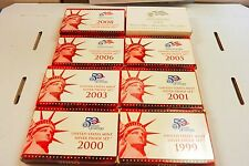 99,2000,01,03,05,06,07 & 08 U.S MINT SILVER PROOF SETS. EXCELLENT CONDITION