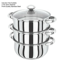3TIER STEAMER- 24CM S/S INDUCTION HOB MULTI VEG COOKER POT PAN SET WITH LID