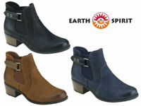 Earth Spirit Ankle Boots Ladies Chelsea Leather Nubuck Low Heel Winter Shoes