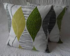 "16"" Cushion Cover Lime Green Black Retro Cotton Print Handmade New 40cm"