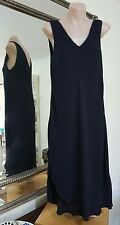 Sportscraft Signature black shift dress.Sz8.Crepe viscose,overlap skirt.
