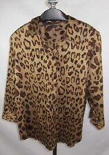 Chaps Shirt Top Large Cheetah Print 3/4 Sleeve