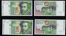 Pareja de 1000 Pesetas 1992 serie 9A nº 4468325-4468326 Hernán Cortés. PLANCHA.