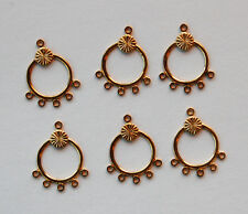 VINTAGE 6 GOLD BRASS EARRING PENDANT BAIL BAILS CIRCLE 5 HOLE CHANDELIER STYLE