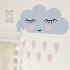SLEEPING CLOUD PINK GIRLS BEDROOM BABY NURSERY WALL STICKER VINYL TRANSFER MURAL