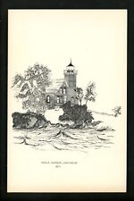 Lighthouse postcard Eagle Harbor Light, Michigan MI Artist Signed William Dezur