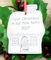 PERSONALISED CHRISTMAS TREE DECORATION BAUBLE XMAS GIFT ORNAMENT NEW HOME SILVER