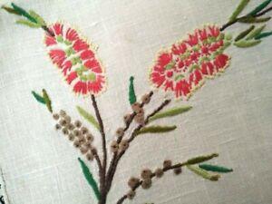 Australian Wild Flowers ~ Red Bottle Brush   Vintage Hand Embroidered centre/mat