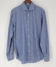 Bugatchi Uomo Men's 16.5 35 Large blue stripe paisley shirt  p
