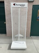 Display Grid Rack 2 Panels Rolling Steel Retail Wall Store Show Manne Stand
