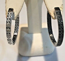 1/2 Ct Black & White Reversible Diamond Hoop Earrings, Platinum SS.925